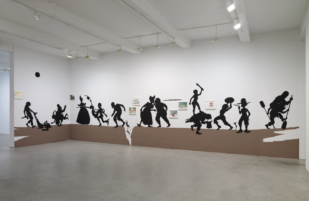 Kara Walker,  The Nigger Huck Finn Pursues Happiness Beyond the Narrow Constraints of your Overdetermined Thesis on Freedom - Drawn and Quartered by Mister Kara Walkerberry, with Condolences to The Authors , 2010. Cut paper and paint on wall; gouache and ink on paper (framed). Installation approx. 144 x 576 inches. Works on paper, 7 parts: 11.5 x 15 inches. Photo: Jason Wyche