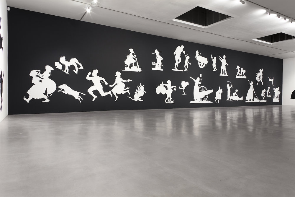 Kara Walker,  The Sovereign Citizens' Sesquicentennial Civil War Celebration , 2013. Cut paper on wall, approx. 157.5 x 984.25 inches. Camden Arts Centre, London, 2013. Photo: Angus Mill Photography