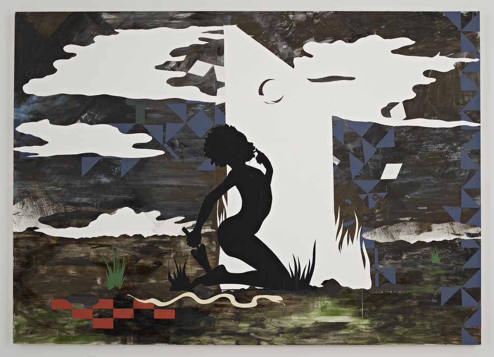 Kara Walker,  Mississippi Mud , 2007. Mixed media, cut paper, casein on gessoed panel, 60 x 84 x 2 inches.