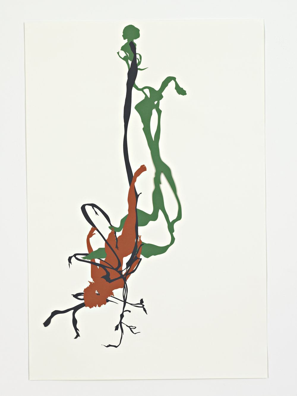 Kara Walker,  Bureau of Refugees: Mulatto hung by a grapevine near road side between Tuscaloosa & Greensboro , 2007. Cut paper on paper, 30.75 x 20.5 inches.