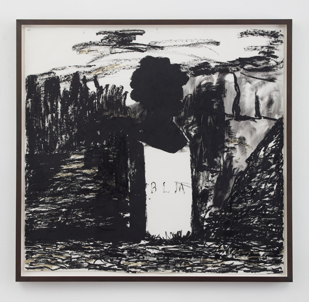 Kara Walker,  BLM , 2016. Oil stick on paper, 57.5 x 60.5 inches.