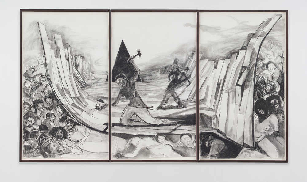 Kara Walker,  Securing a Motherland Should Have Been Sufficient , 2016. Graphite lumber marker on paper, 104.5 x 180.75 inches.