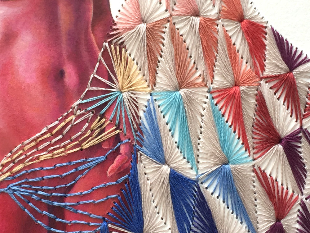 "Collective Unraveling #3 (The Tribe) Detail.   Oil & embroidery thread on paper, 20""w x 16""h."