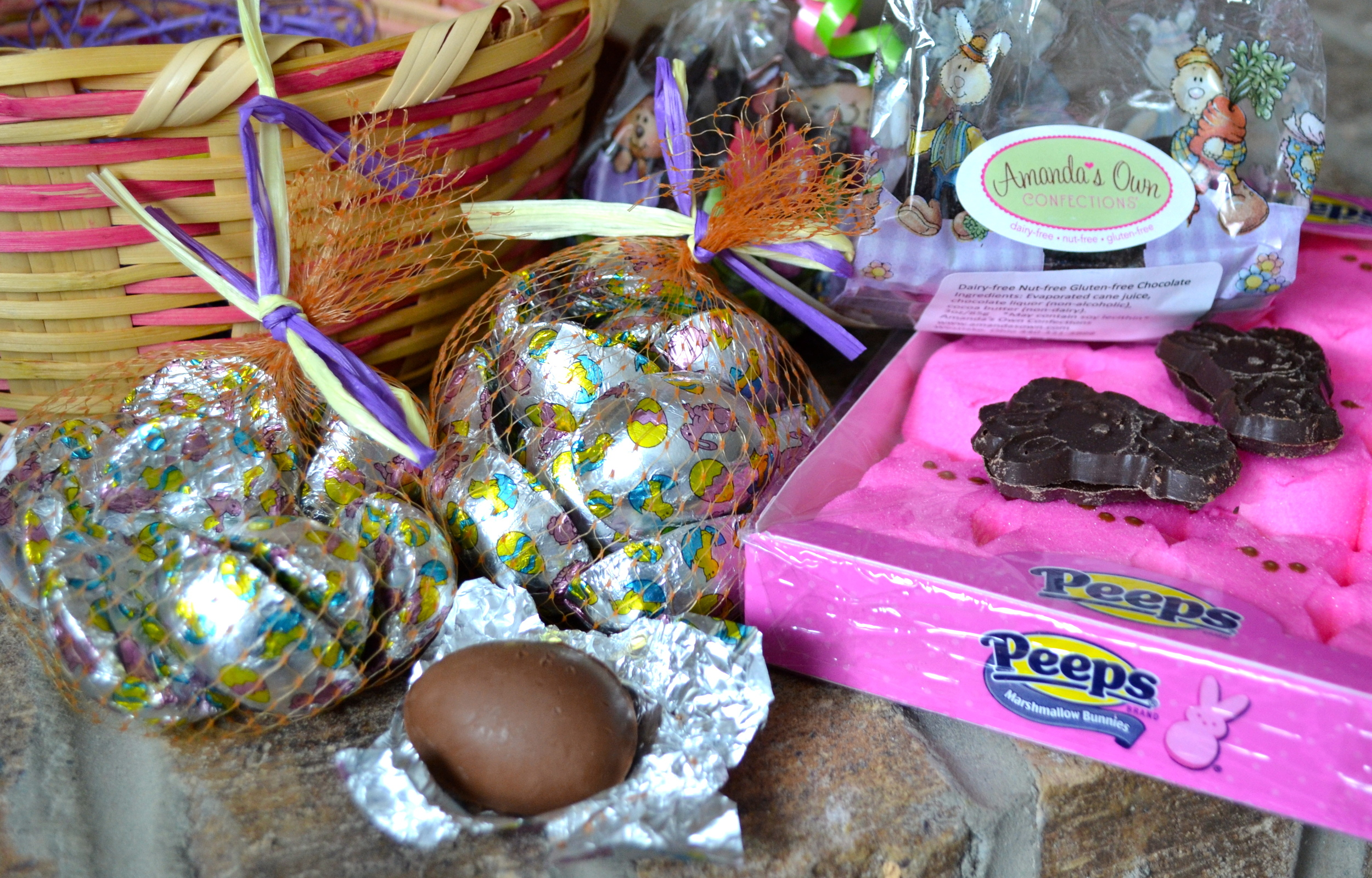 The nut free easter bunny is coming and he is bringing chocolate her basket will be filled with vermont nut free crispy milk chocolate eggs amandas own springtime bunny bags and peeps just a note amandas own is negle Image collections