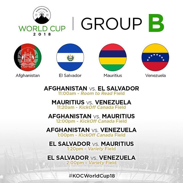 Group B features our defending champions, Afghanistan, as well as El Salvador, Mauritius and Venezuela!  Looking like a tough group and we expect a lot of good matches will take place with these teams 🏆 —  Thinking of coming by to watch #KOCWorldCup18? Entry into BC Place is by donation and you can get tickets here 👉 www.kickoffcanada.com