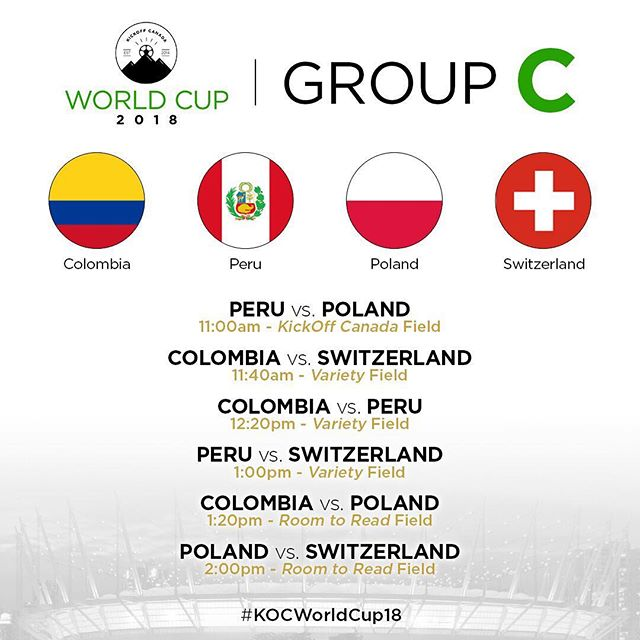 This will be a group that is so evenly balanced and every point will matter to the teams.  Group C consists of Colombia, Peru, Poland and Switzerland. —  Looking to have your family and friends come by to watch #KOCWorldCup18? Entry into BC Place is by donation and you can get tickets on our website: www.kickoffcanada.com