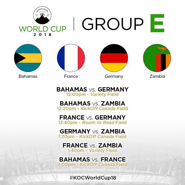 The final group is Group E at #KOCWorldCup18 🙀  The Bahamas, France, Germany and Zambia know that a strong finish in the group stage portion will be advantageous to them in the knock out stages!  How will they fare? Come by on July 8th at BC Place to see it all go down 🏆