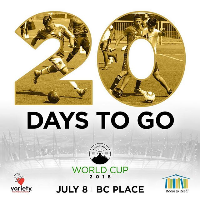 Countdown begins! Who's ready for the #KOCWorldCup18 🙏🙏🔥🔥 —  If you'd like to come by and watch the games at BC Place, entry is by donation and you can reserve a spot here: www.kickoffcanada.com