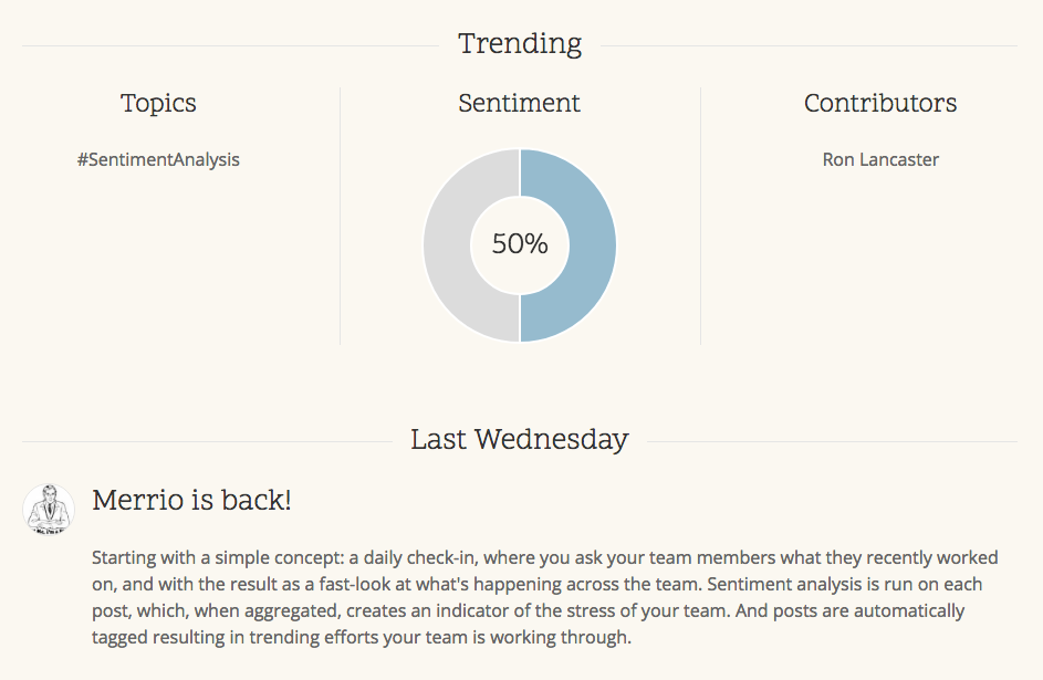 Highlights trending topics, contributors, and the team's sentiment based on their updates..