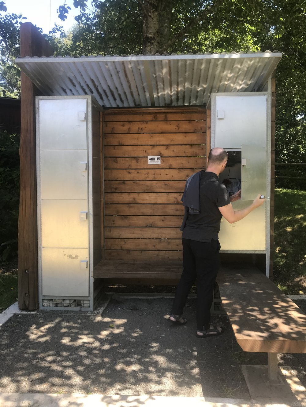 The fancy hiker/biker sites at Devil's Lake have lockers, which included an outlet inside for charging devices. We spend a lot of time trying to conserve our phone batteries and figuring out where we can charge them, so that was nice.