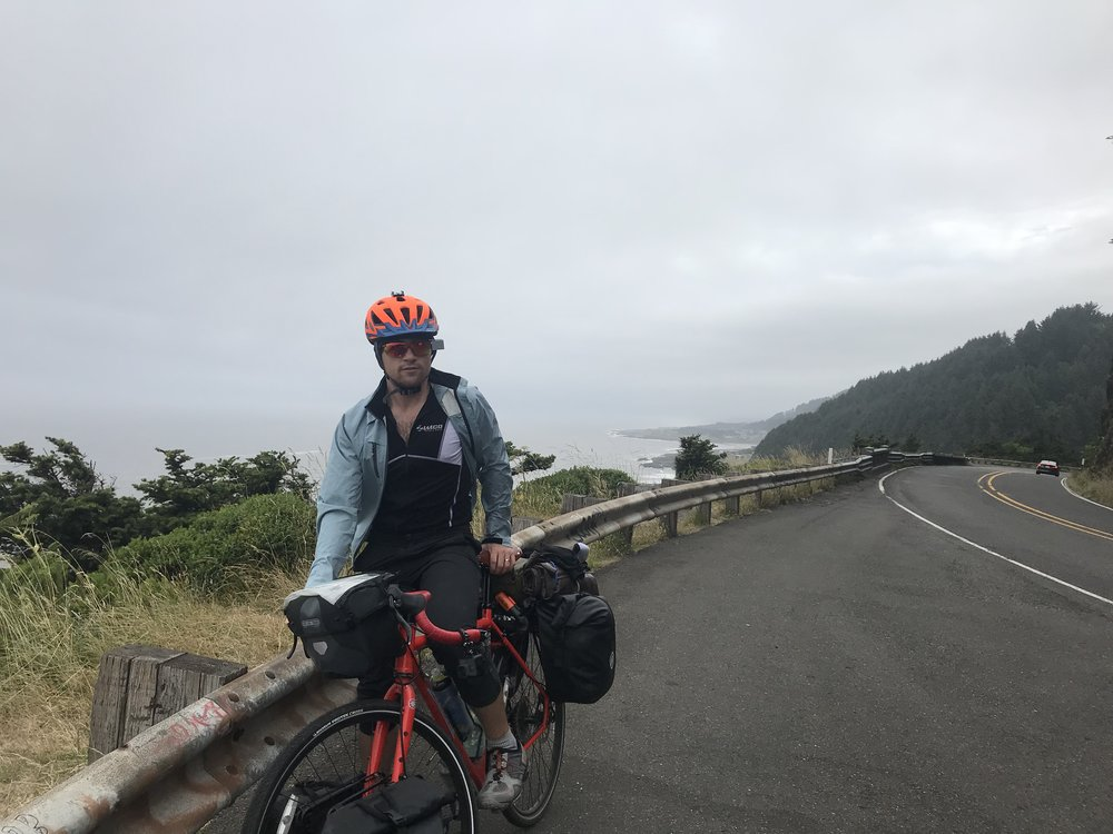 Misty riding through Cape Perpetua.