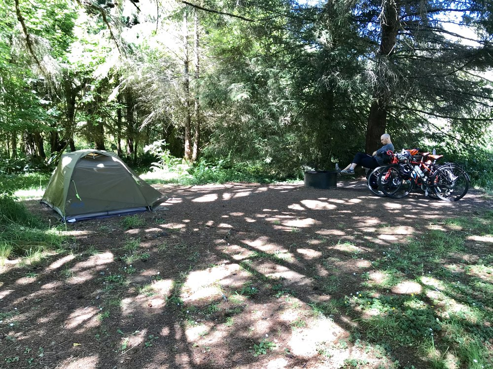 Our campsite in the park at Elk Prairie Campground. There were signs everywhere warning of the wild elk, but we only saw a few from a distance.
