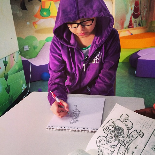Meet Super Jubilee. Telling us about her super powers as she sketches out her superhero character! #ThinkSuper #SuperHope #superpower #kids #cancer #awareness #love #hope #positivity #illustrations