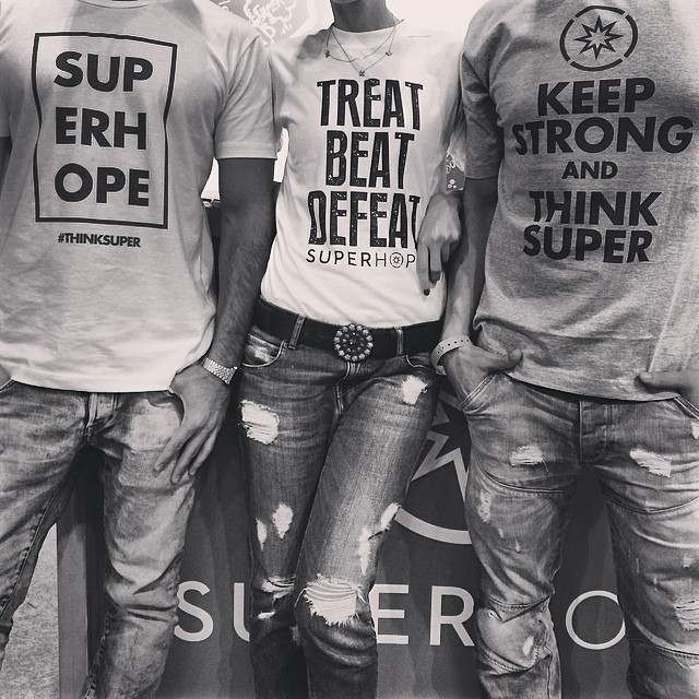 Check out our super clothing line. Come down to Comic Con tomorrow to rock your style for a good cause. Thank you @westlaboutique and @toilandtinker for the production support. Designs by SuperHope #thinksuper #superhope #cool #instafashion #picoftheday #ootd #denim