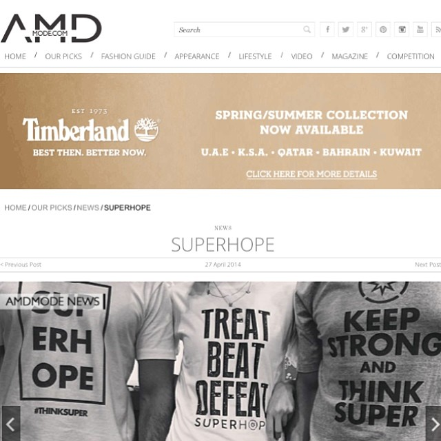 AMDMode tells you more about Superhope :D Big thanks to @ahmaddaabas and @amdmode for the great support #superhope #thinksuper #superhero #children #fighting #real #life #battles #fashion #lifestyle #instafashion #picoftheday #dubai