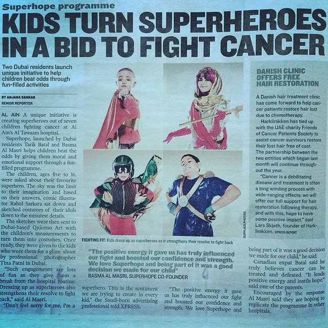 Kids Turn Superheroes In A Bid To Fight Cancer. Special thanks to XPRESS and @copiagroup for their amazing support to SuperHope #thinksuper #superhero #superhope #children #cancer #awareness #dubai #magazine