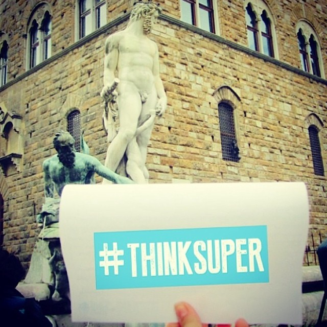 Live from Itlay! @sherinka_13 Thinks Super from Piazza Della Signoria #firenze #florence #italy #thinksuper #superhope #love #picoftheday #statueofdavid #europe #socialenterprise #socialimpact