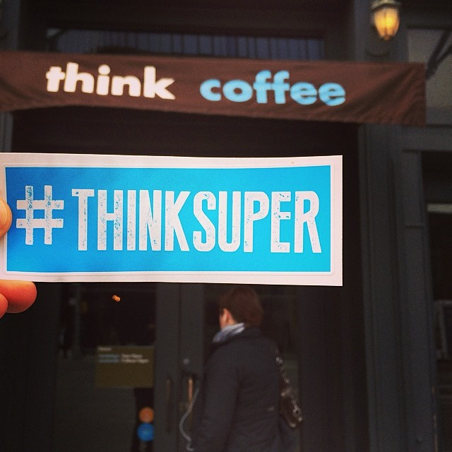 NYC Thinks Super and Thinks Coffee ;) #superhope #thinksuper #coffee #photooftheday #tagsforlikes #nyc #newyork #socialimpact #love #hope