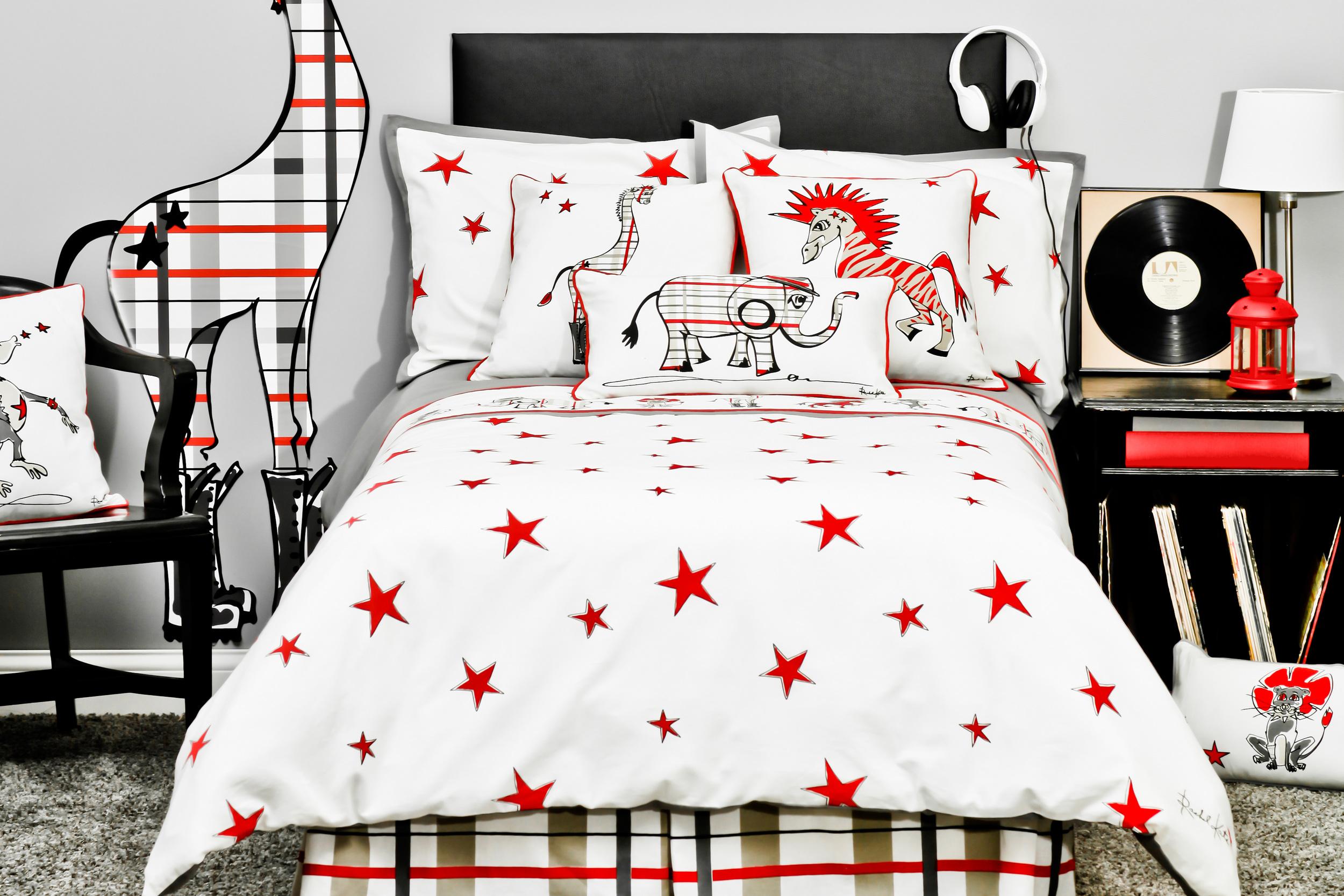 Punk Rock Jungle Animals Bedding Sets   Red