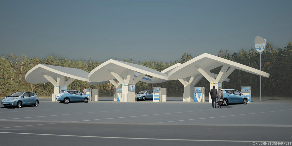 Artist's rendering of what a charging station pavilion could look like, courtesy of ECOtality/Blink Network of charging stations.