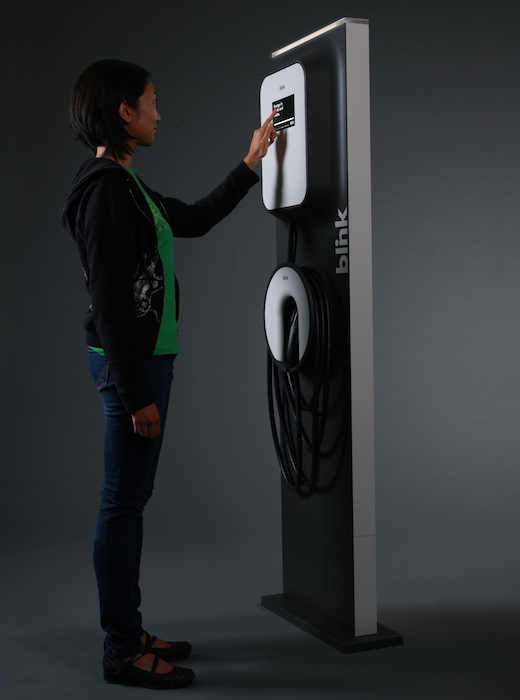 A commercial Level 2 pedestal charging station from ECOtality.