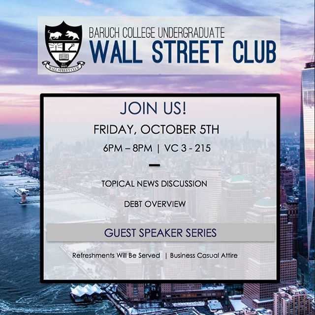 Hello everyone! Join us this Friday, October 5th from 6PM-8PM in NVC 3-215 for our fifth meeting of the semester. We look forward to seeing you all there! #BaruchWSC