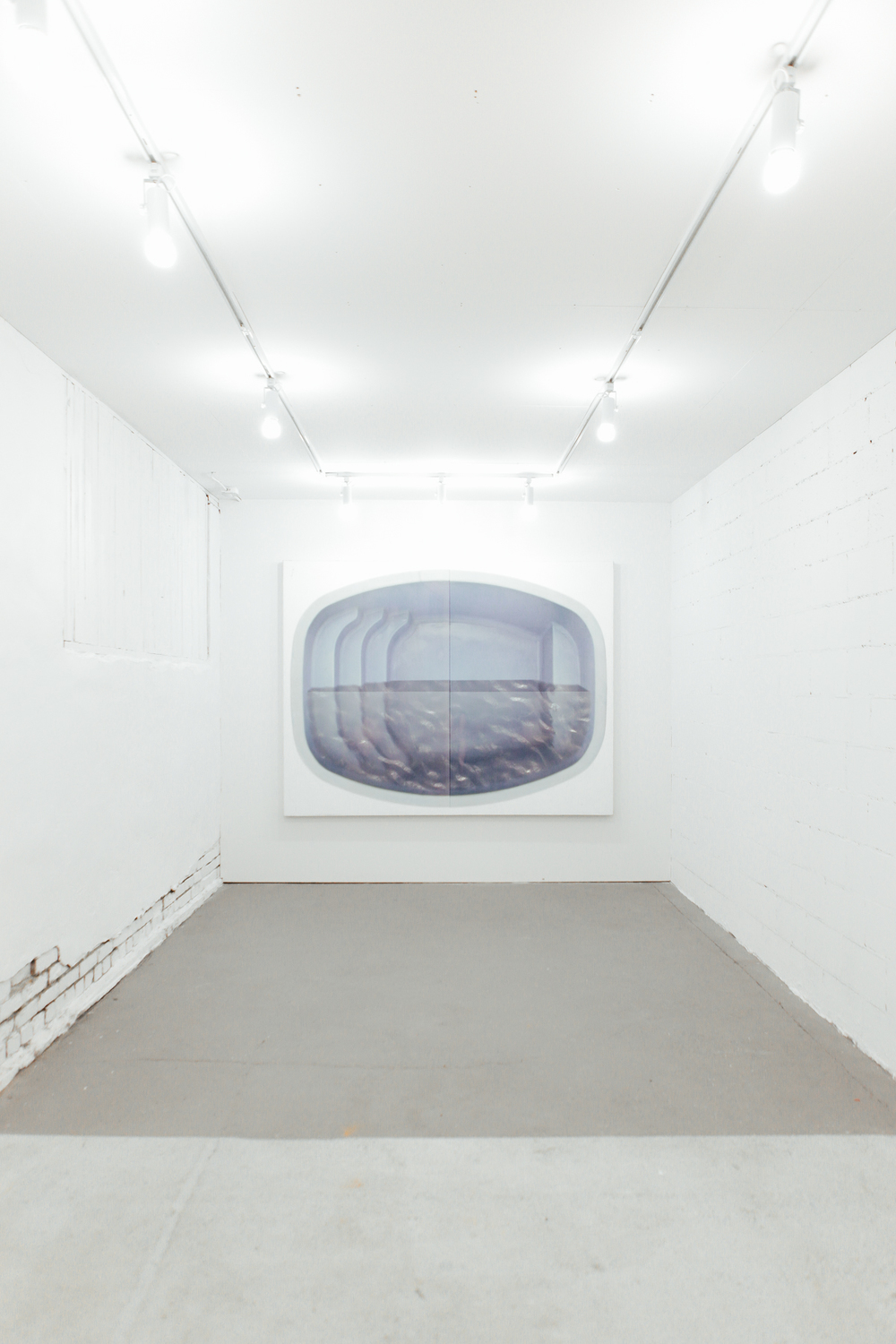Aaron Koehn,  swimming pool,  UV cured ink on canvas, 2014. Installation image by Luis Valdizon.