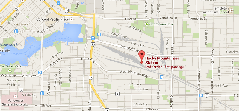 Rocky Mountaineer Station. 1755 Cottrell St, Vancouver BC