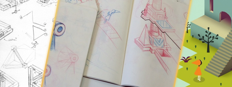 Monument Valley Game - shows how you go from IDEA --> to SKETCH --> to ILLUSTRATION --> to CODE --> to BEAUTIFUL GAME.