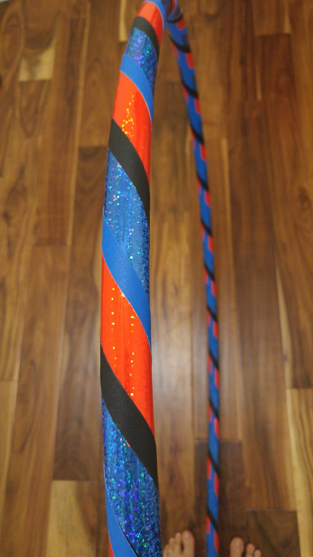 Go Thunder! Blue & Orange sparkle with blue & black grip accent