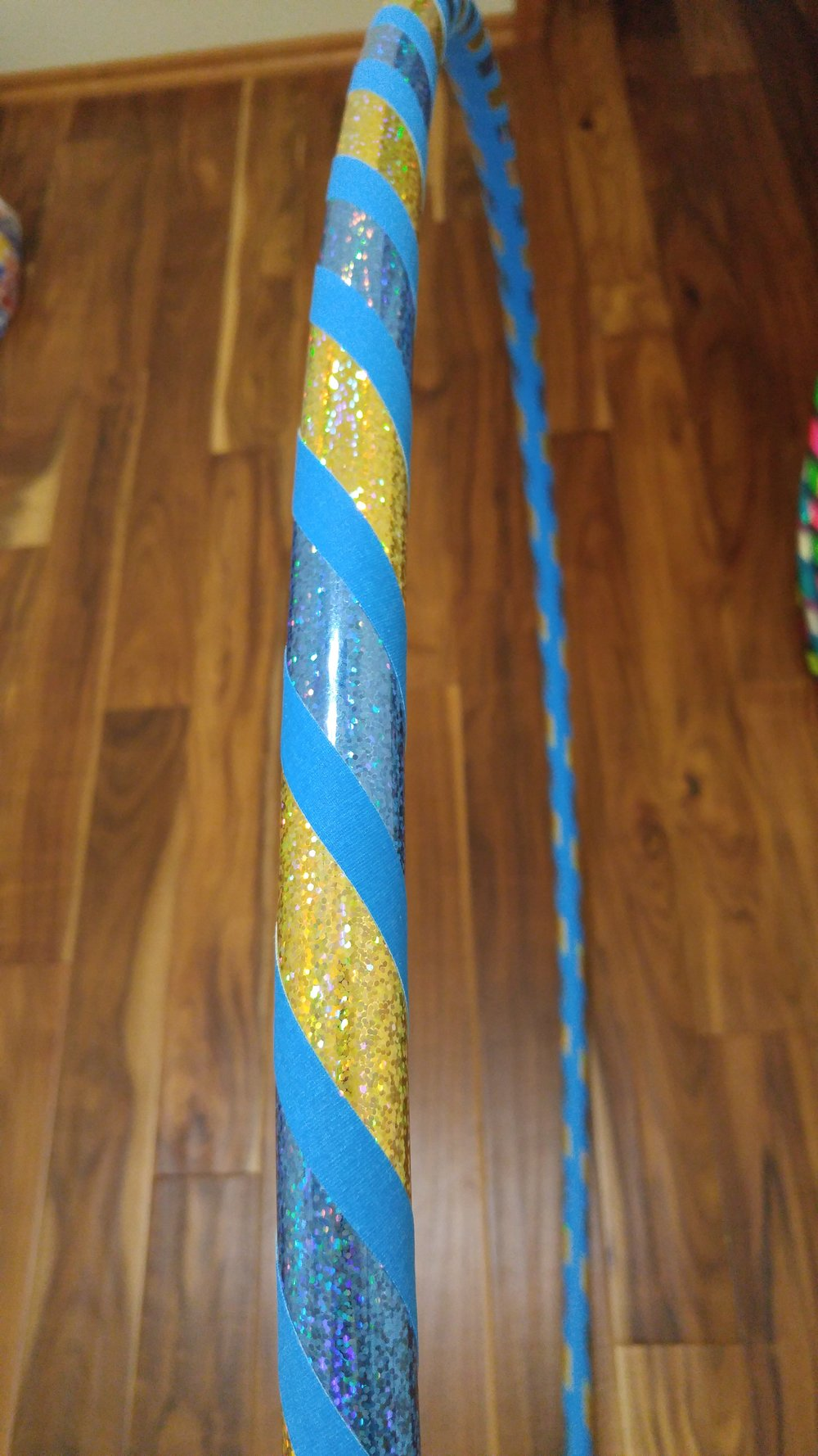 Baby blue & gold sparkle with blue grip accent