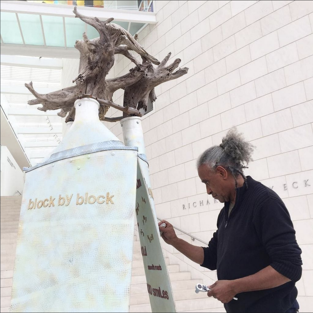 Artist Jerome Meadows installs Block by Block-inspired artwork at the Jepson.