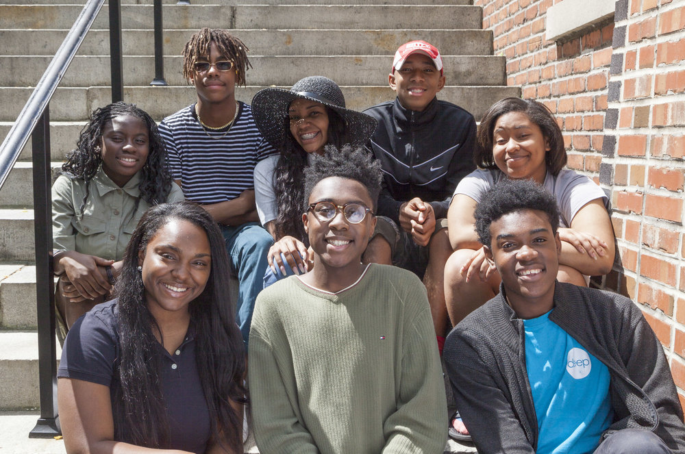 Meet Deep's Youth Leadership Team 2017. From left to right. Top row: Antwon, Sam. Middle row: Mariah, Alexandria, and India. Bottom row: Abreona, Trent, and Justin.