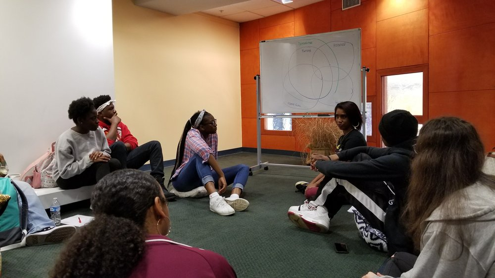 Stephanie Toliver and Block by Block discussing Afrofuturism. Photo: Dare Dukes.