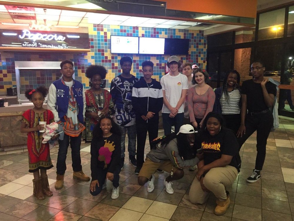 Block by Block youth and their family members at Black Panther. Photo: Katy Williams.