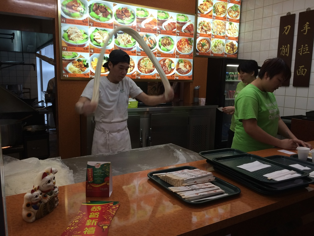 Making noodles by hand at Sun's Kitchen, located in the upstairs food court at Pacific Mall
