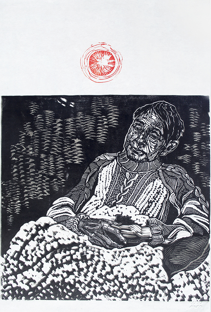 Linocut relief prints by Alexa Hatanaka