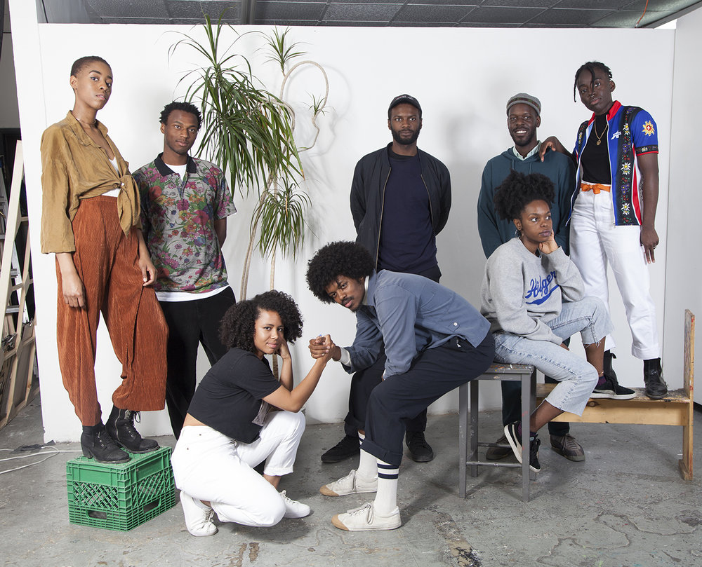 Black Artists Union, FROM L TO R: Curtia Wright, Aaron Jones, Destiny Grimm, Filmon Yohannes, Sylvia Limbana, Timothy Yanick Hunter, Phillip Saunders & Oreka James  Photograph by Dainesha Nugent-Palache