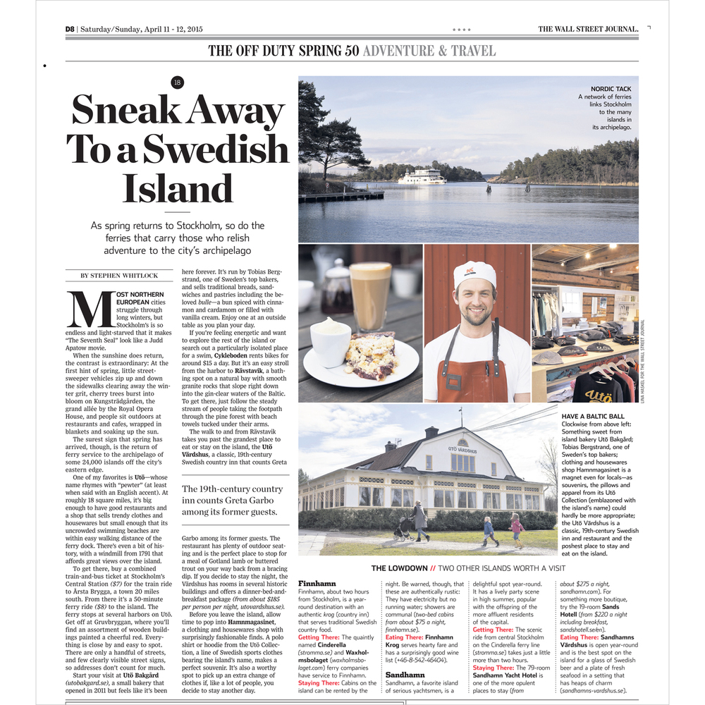 Stockholm archipelago feature (Wall Street Journal,  see more )