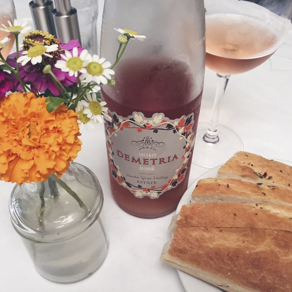 Lunch and some Demetria rosé at Los Olivos Wine Merchant & Cafe.