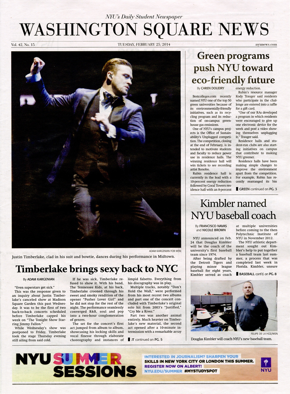 Cover of The Washington Square News, Thursday, February 25, 2014