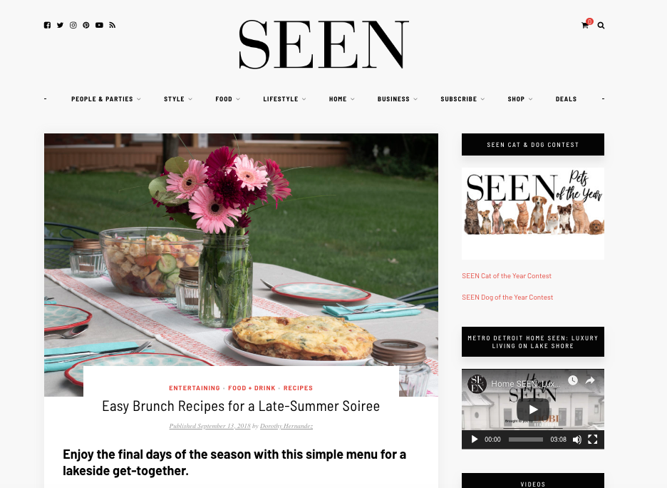 Lakeside summer soiree - For this entertaining feature published on SEEN magazine's website in September 2018, I styled the spread, developed the recipes and shot the photos. Click here to read more.