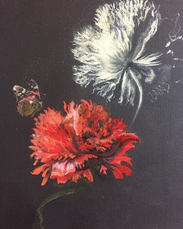 """#wip #oiloncanvas """"It's like life and death, or love and hate... With a butterfly."""" @kiddownstairs"""