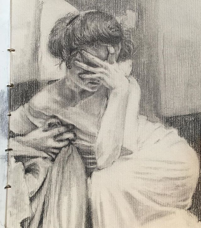 • graphite illustration of photo by Alfons Maria Mucha •