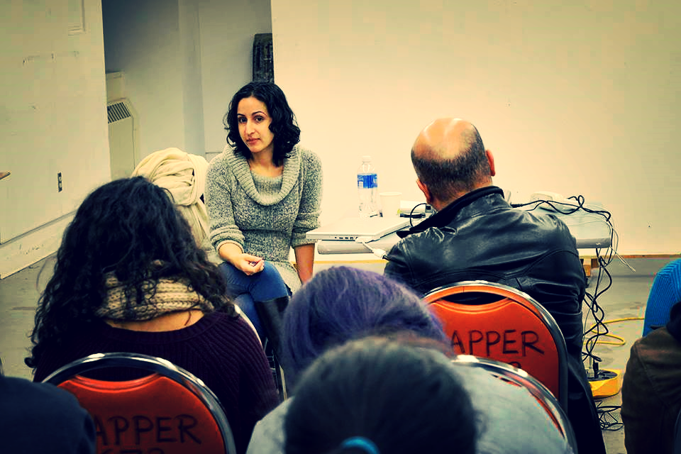 Speaking with students at Queens College, CUNY, 2014. Photo: Social Practice Queens.