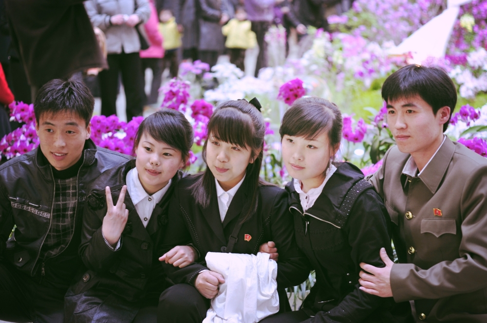 Teenagers at the Kimilsungia Flower Festival.JPG
