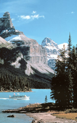 World famous Spirit Island on Maligne Lake...