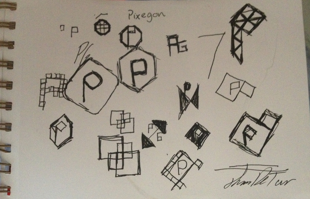 Thumbnail Sketches from the discovery phase of the Pixegon logo creation.