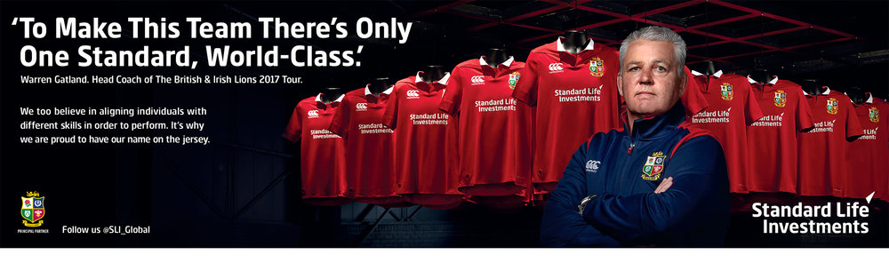 Standard Life Investments - Warren Gatland shot for a print and billboard advert for SLI at the launch of the new Lions shirt