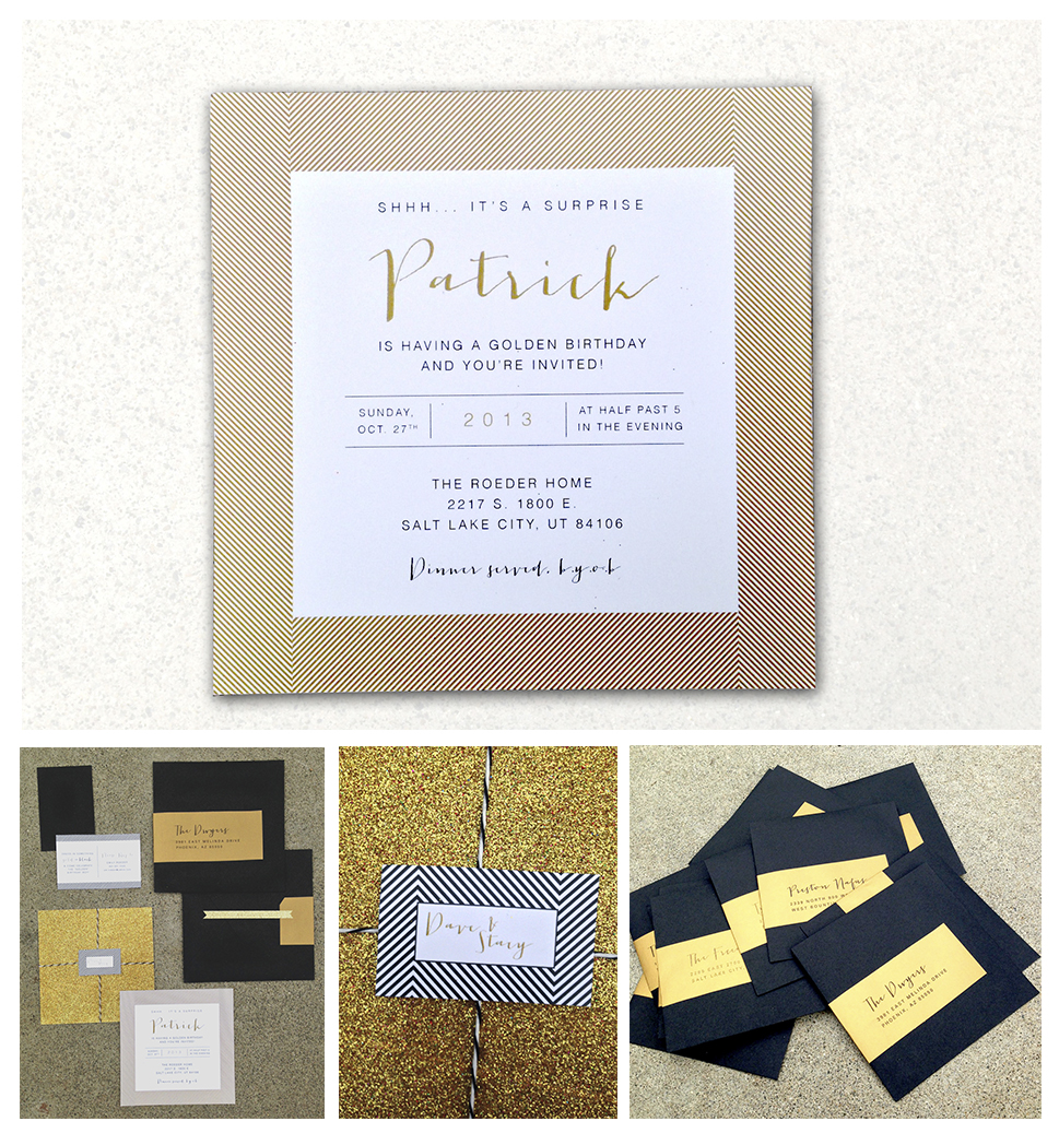 Golden Birthday Invitations   -   Emily Roeder Design